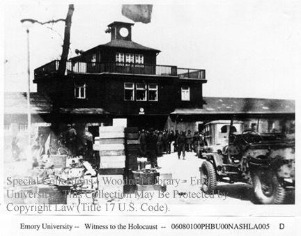 Liberators at the entrance to Buchenwald
