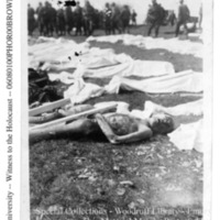 Liberators observe corpses of prisoners laid out for burial  [Ohrdruf]