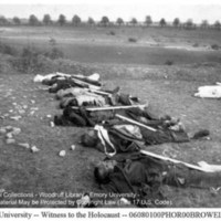Corpses of prisoners laid out for burial near a pile of stakes  [Ohrdruf]