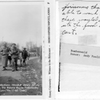 """""""Prisoners that were able to work like these would distribute the food in this cart"""" [Buchenwald]"""