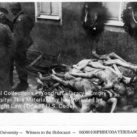 Liberators stand near corpses of prisoners stacked next to a building under two wreaths [Buchenwald]