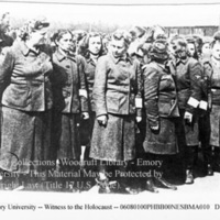 Female camp guards standing together  [Bergen-Belsen]