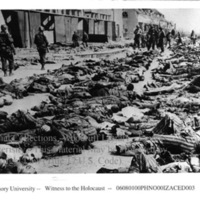 Liberators view corpses of prisoners at Nordhausen