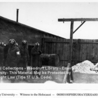 """""""Pile of human ashes outside furnace room""""  [Buchenwald]"""