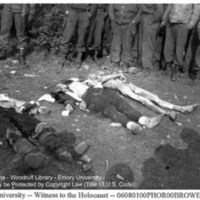 A group of liberators looks at the corpse of a naked, emaciated prisoner laid next to the corpses of two SS guards  [Ohrdruf]