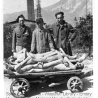 Three survivors stand behind a corpses of prisoners on a handcart  [Ebensee]