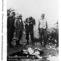 """""""2 SS Germans.  Russians recognized in town and killed""""  [Ohrdruf]"""